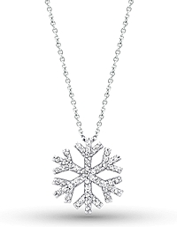 14K White Gold Diamond Snowflake Necklace