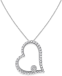 14k White Gold Open Heart Diamond Necklace