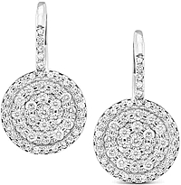14K White Gold Pave Diamond Circle Earrings