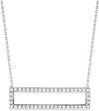 14K White Gold Rectangle Diamond Pendant