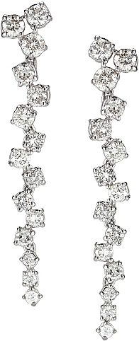 14K White Gold Scattered Diamond Earrings