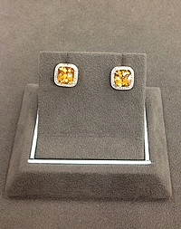 14K Yellow Gold Diamond & Citrine Earrings