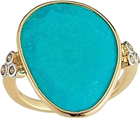 14k Yellow Gold Diamond & Turquoise Ring- .18ct TW