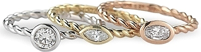 Shown with the matching stackable rings; Sold separately.