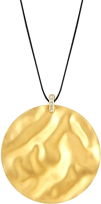 14k Yellow Gold Textured Circle Pendant
