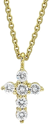 18k Gold .20ct Diamond Cross