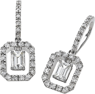 18k White Gold 1 02ct Emerald Cut Diamond Earrings 0 Reviews Write A Review View Photos
