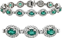 18K White Gold 11.48ctw Diamond & Emerald Bracelet