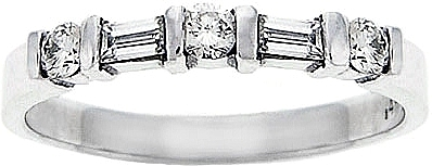 18k White Gold 1/2ct Round & Baguette Diamond Wedding Band SCS637
