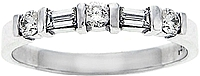 18k White Gold 1/2ct Round & Baguette Diamond Wedding Band