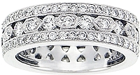 18k White Gold 1.45ct Diamond Pave Wedding Band