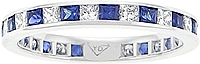 18k White Gold 1.70ct Diamond & Sapphire Channel-Set Band