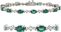 18K White Gold 7.80ctw Diamond & Emerald Bracelet