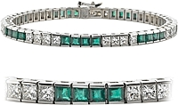 18k White Gold 9.26ct Diamond & Emerald Channel-Set Bracelet