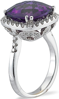 18k White Gold Diamond and Amethyst Ring- 8.12ct TW