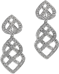 18k White Gold Diamond Drop Earrings- 1.68tcw