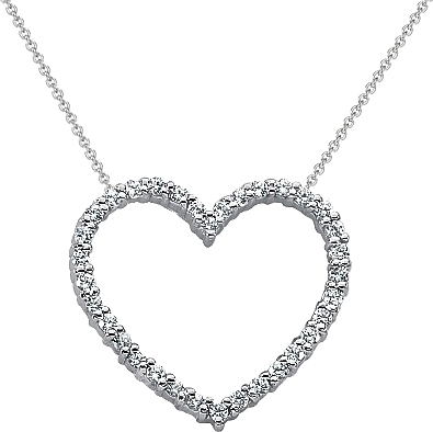 18k white gold diamond heart pendant 12ct tw unhpd271 aloadofball