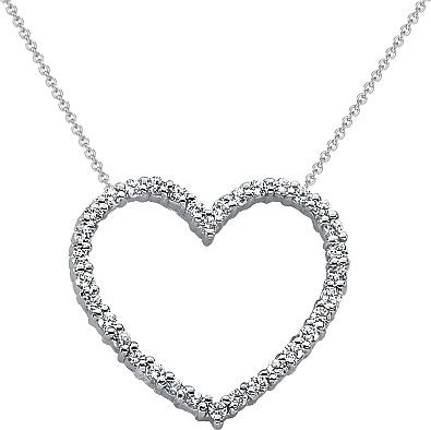 18k white gold diamond heart pendant 12ct tw unhpd271 aloadofball Choice Image