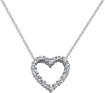 18k white gold diamond heart pendant 14ct tw unhpd268 aloadofball