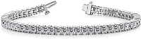 18k White Gold Diamond Princess Cut Tennis Bracelet - 9 1/3ct tw
