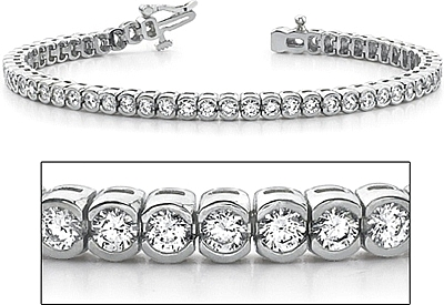 18k White Gold Half Bezel Set Diamond Tennis Bracelet 5