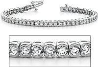 18k White Gold Half Bezel-Set Diamond Tennis Bracelet - 5.10ct tw