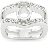 18k White Gold Pave Diamond Half-Bezel Setting by Simon G .27ct tw