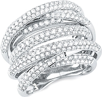 18k White Gold Pave Diamond Ring- 2.39tcw