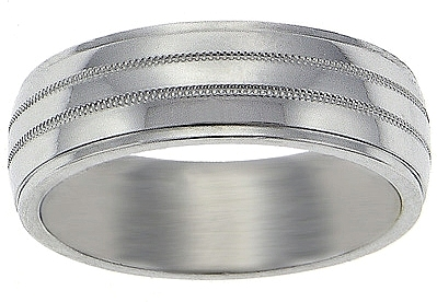 Gold Wedding Band on Wedding Rings   18k White Gold Polished Milgrain 7mm Wedding Band