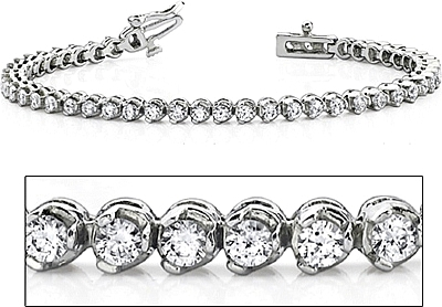 18k White Gold Three Prong Diamond Tennis Bracelet 3ct