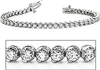 18k White Gold Three Prong Diamond Tennis Bracelet - 3ct tw