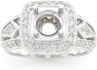 18k White Gold Trapazoid & Pave Setting by Simon G 1.01ct tw