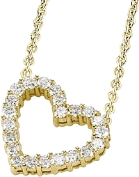 18k Yellow Gold 1.55ct Diamond Heart Necklace