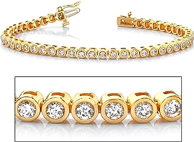 18k Yellow Gold Bezel Set Diamond Tennis Bracelet 2 60ct