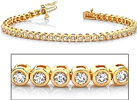 18k Yellow Gold Bezel-Set Diamond Tennis Bracelet - 2.60ct tw