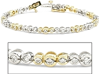 2.00ct 14k White & Yellow Gold Diamond Bracelet