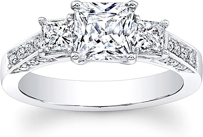 this image shows the setting with a 100ct princess cut center diamond the setting - Princess Cut Diamond Wedding Ring