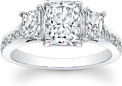 This image shows the setting with a 1.00ct radiant cut center diamond. The  setting