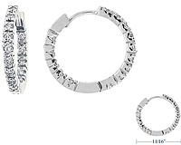 .45ct 14k White Gold Diamond Hoop Earrings