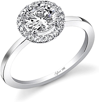 .52ctw Round Brilliant Cut Sylvie Pave Diamond Engagement Ring