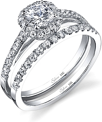 .61ctw Round Brilliant Cut Sylvie Pave Diamond Engagement Ring