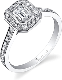 .75ctw Asscher Cut Sylvie Pave Diamond Engagement Ring