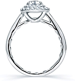This image shows the setting with a .75ct round brilliant cut center diamond. The setting can be ordered to accomodate any shape/size diamond listed in the setting details section below.