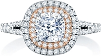 A.Jaffe Double Halo Split Shank Diamond Engagement Ring