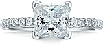 This image shows the setting with a 1.50 ct princess cut center diamond. The setting can be ordered to accommodate any shape/size diamond listed in the setting details section below.