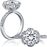 This image shows the setting with a 3.00ct round brilliant cut center diamond. The setting can be ordered to accommodate any shape/size diamond listed in the setting details section below.