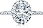 This image shows the setting with a 1.50ct oval cut center diamond. The setting can be ordered to accommodate any shape/size diamond listed in the setting details section below.