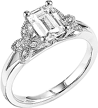 This image shows the setting with a 1.00ct emerald cut center diamond. The setting can be ordered to accommodate any shape/size diamond listed in the setting details section below.