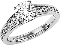 Art Carved Channel set Diamond Engagement Ring