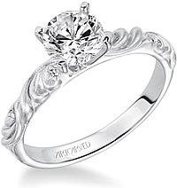 Art Carved Diamond Engagement Ring Heart Detail W/ Diamonds .02ct tw